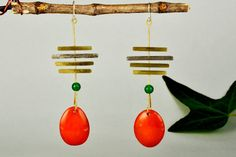Orange tagua earrings, mixed metals drops, vegetable ivory nuts, green jade long earrings, parallel lines, extra long earring, gift under 30 by ColorLatinoJewelry on Etsy