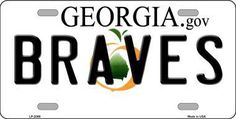 Braves Georgia State Background Metal Novelty License Plate