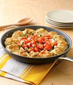 "No need to make any sides when you have this recipe handy! This one-dish dinner has chicken, veggies and bread all in one skillet, and is ready in a quick 35 minutes making it the best solution for your ""what's for dinner?"" question on busy weeknights. Top Recipes, Easy Dinner Recipes, Real Food Recipes, Chicken Recipes, Cooking Recipes, Dinner Ideas, Drink Recipes, Meal Ideas, One Dish Dinners"