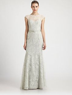Theia Lace Fit-And-Flare Gown. In love with this dress in the blush pink.