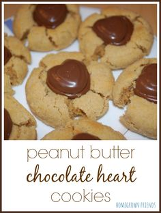 easy to make peanut butter chocolate heart cookies from Homegrown Friends