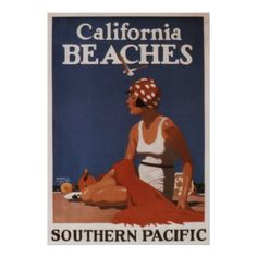 California Beaches Southern Pacific Vintage Travel Poster - vintage gifts retro ideas cyo
