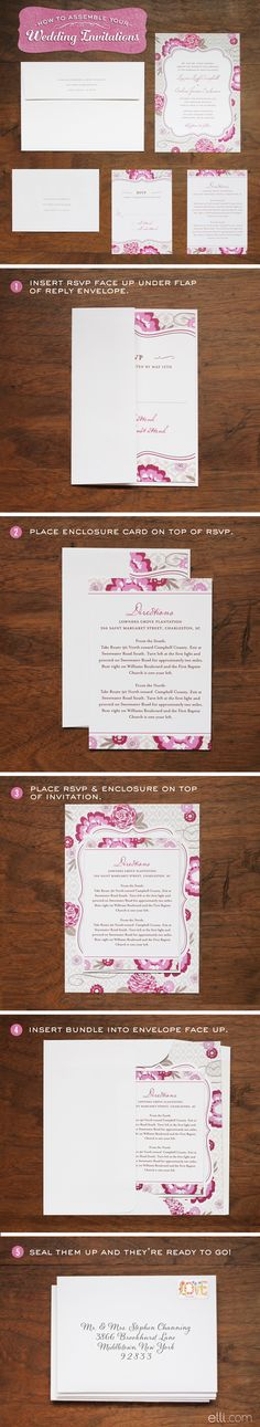 Step-by-step guide on how to assemble wedding invitations.