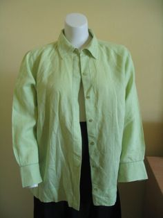 SIGRID OLSEN Size 1X Top Blouse Button front Beautiful Lime Green Linen
