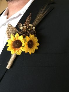 Rustic Sunflower Summer - Fall Wedding Boutonniere or Corsage for Outdoor - Indoor - Country - Farm - Natural - Elegant Wedding