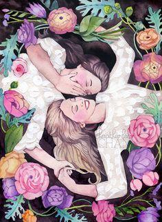 Sisters Art - Best Friends Watercolor Painting Print
