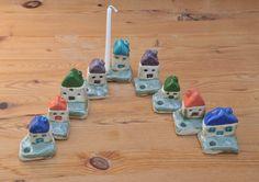 Ceramic Menorah with tiny colorful houses - Hanukkah Menorah - Hanukkia Chanukkah Chanukiah Hanukkah Menorah on Etsy, 364.43₪