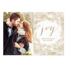CUSTOMIZABLE WINTER WREATH   JOY   STYLISH HOLIDAY CARD by the Antique Chandelier. Pin to your #christmas #holiday #celebration #party #winter inspiration boards!