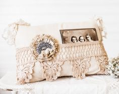Pocket Pillow with Lace and Tattered Rose and Vintage photo tucked in.