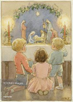 'The Chidren's Crib' - Christmas card. Margaret Tarrant