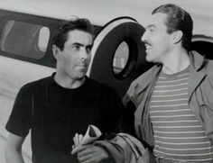Tyrone Power & Cesar Romero on good will plane trip through South America, 1947 Vintage Hollywood, Classic Hollywood, Hollywood Stars, Power Photos, Yvonne Craig, Ann Sheridan, Tyrone Power, Desi Arnaz, Old Movie Stars