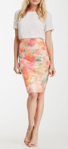 giverny floral metallic tweed pencil skirt  SC