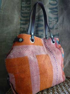 Tamara Fogle bag made from hand made vintage quilts from Pakistan