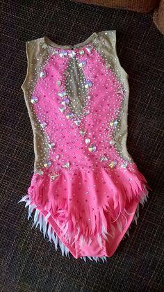 Hecho a medida rítmica gimnástica leotardo rosa por IamYourKnitter