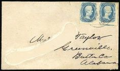 """Confederacy, 1863, 10c Blue, """"T-E-N"""". Horizontal pair, large margins except just touched at top, tied by a partial strike of """"Richmond, Va"""" ..."""