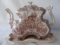 Rare Antique Victorian Burleigh Ware Brown & White Colonial India Teapot & Stand    eBay   £61