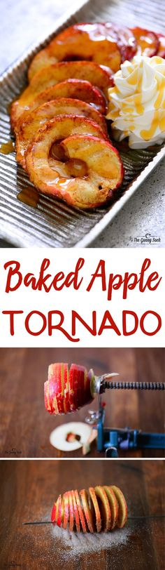 Stir up a little fun the fall with this Baked Apple Tornado recipe! This spiral apple drizzled with caramel is a delicious twist on the classic baked apple. It's like a deconstructed apple pie.without the crust. by DeeDeeBean Fruit Recipes, Apple Recipes, Fall Recipes, Dessert Recipes, Cooking Recipes, Zoodle Recipes, Spiralizer Recipes, Tornado Food, Plated Desserts