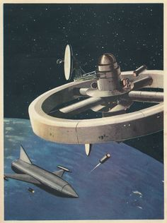 The beautiful space art of Jack Coggins from the book Rockets, Jets, Guided Missiles & Space Ships