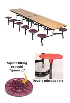 Amtab's cafeteria tables are made with 14-gauge square steel legs and frame, which enhances strength and prevents stools from spinning.