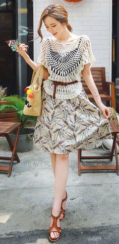 StyleOnme_Leaf Print Linen Flared Skirt #summer #koreanfashion #print #skirt…