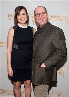 Megan Boone (L) and James Spader attend an evening with 'The Blacklist' at Florence Gould Hall on April 2, 2014 in New York City.