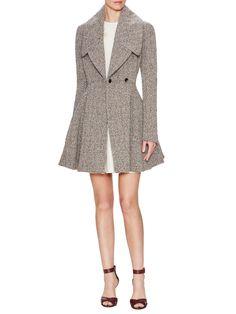 Wool Herringbone Flare Dress Coat by Alexander McQueen at Gilt