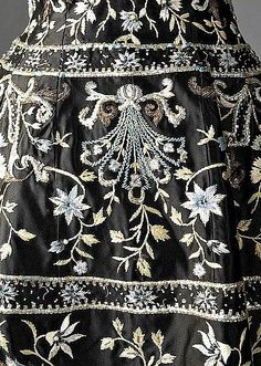 Pierre Balmain embroidered black satin cocktail gown,1959