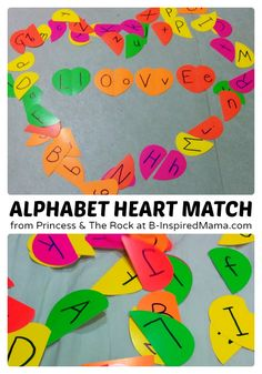 Kids Alphabet Matching Hearts -make it magnetic to use on a cookie sheet.