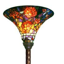 Warehouse of Tiffany Tiffany-style Rose Torchiere, Amber/Green