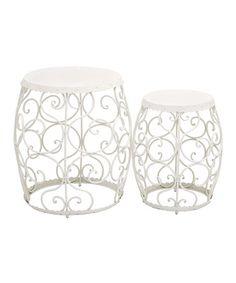 Look at this #zulilyfind! White Decorative Stool Set #zulilyfinds