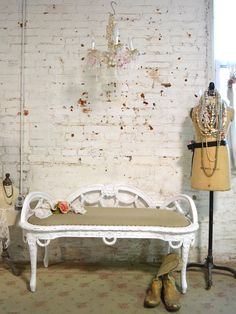 Painted Cottage Chic Shabby French Upholstered Bench [IBBC] - $395.00 : The Painted Cottage, Vintage Painted Furniture