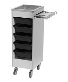The Aluma Deluxe Styling Trolley is rugged, sleek, and perfect for use with your hot tools. The stainless steel top and slide out appliance holder on full extension glides make this the perfect portable station for any stylist working wi Hairdressing Trolley, Salon Sink, Small Hair Salon, Salon Trolley, Trolley Cart, Home Hair Salons, Spa Room Decor, Styling Stations, Hot Tools
