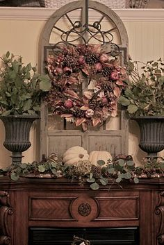fall bedroom mantle from Courtney@French Country Cottage
