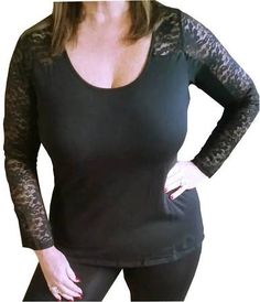 Sexy Black Low-Cut Lace Sleeve V-Neck Womens Plus Stretchy Blouse Top 1X/2X/3X…