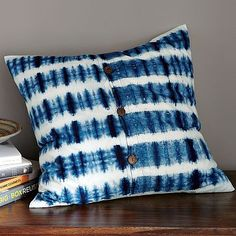 indigo stripe pillow cover