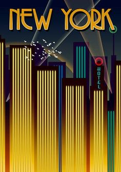 Art Deco style in New York poster