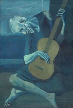 Pablo Picasso Spanish, worked in France, 1881–1973, The Old Guitarist 10/3/16 The artist Pablo Picasso was influenced by the Spanish culture in Barcelona. He used the color plan of a blue monochromatic plan. He uses different hues of blue to show a gloomy mood in the painting in both the foreground and background