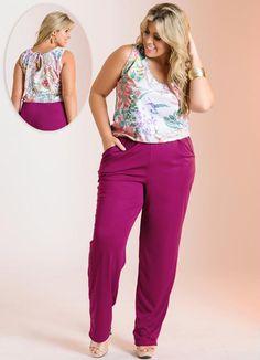 Macacão Rosa Estampado Plus Size - Posthaus