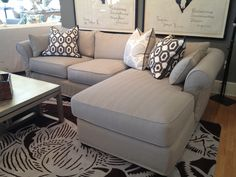 Quatrine Modified Monterey slipcovered chaise sectional - grey