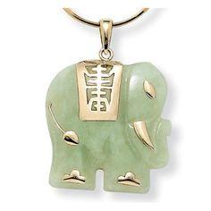 Palm Beach Jewelry 14k Gold Jade Elephant Pendant $74.69