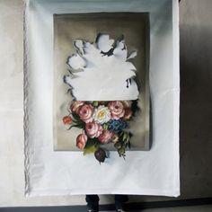 cut-out flowers. painting (natura morte II) by nienke sybrandy. Art Et Illustration, Illustrations, Photocollage, Inside Design, Objet D'art, Kirigami, Oeuvre D'art, Installation Art, Paper Cutting
