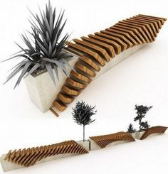 Modern Bench With Planter Concrete Wood Design