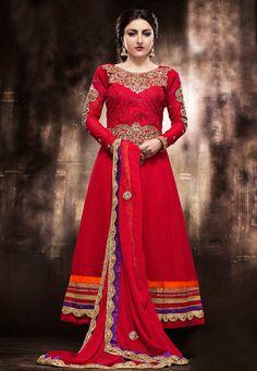 #Red Faux Georgette #AnarkaliChuridarKameez Online Shopping: KAH11