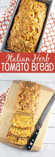 Italian Herb Tomato Bread: an easy savory quick bread starring fresh tomatoes, Italian herbs, garlic, and cheese. Bake up some summer right…