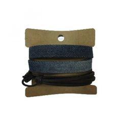 Jeans Brown Leather Bracelets Set GBR10041