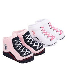 US Polo booties 2 pack - pink | baby shoes & booties | Mothercare