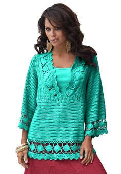 Crochet V-neck Tunic by Denim 24/7. This is a finished garment just pinning for inspiration.