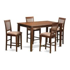 East West Furniture Counter Height Pub Table & 4 Chairs, Mahogany, As Shown Counter Height Table Sets, Pub Table Sets, Wood Table Bases, Solid Wood Table Tops, 5 Piece Dining Set, Dining Room Sets, Patio Bar Set, Kitchen Chairs, Room Chairs