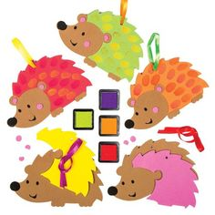 Hedgehog Fingerprint Hanging Decoration Creative Set for Children to Design Decorate and Display as Fall Crafts Pack of 5 >>> For more information, visit image link.-It is an affiliate link to Amazon. #CraftKits
