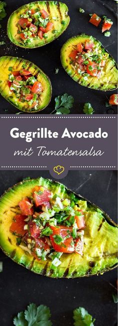 Avocado mit Tomatensalsa - Go Veggie! - Vegetarische Rezepte -Gegrillte Avocado mit Tomatensalsa - Go Veggie! Avocado Recipes, Salad Recipes, Grilling Recipes, Cooking Recipes, Pork Recipes, Barbecue Recipes, Slow Cooking, Barbecue Bbq, Fingers Food